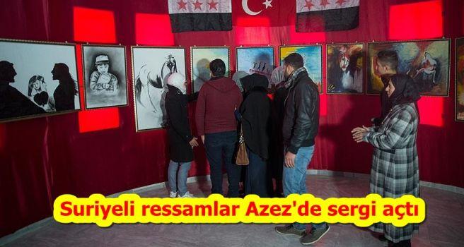Suriyeli ressamlar Azez'de sergi açtı