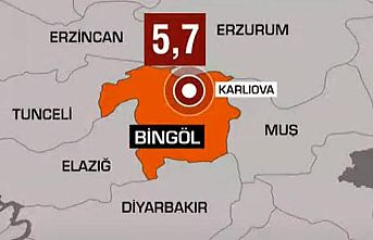 Bingöl'de 5,8 büyüklüğünde deprem meydana geldi
