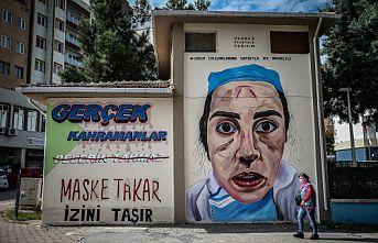 """Bursa'da """"Kovid-19 kahramanları"""" trafolara resmedildi"""