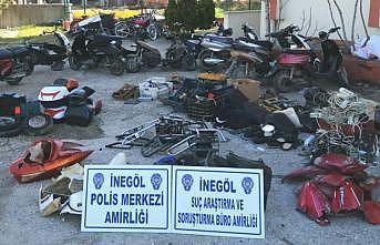 Bursa'da çaldıkları motosiklet ve elektrikli bisikletleri parçalayıp satan 5 şüpheli tutuklandı