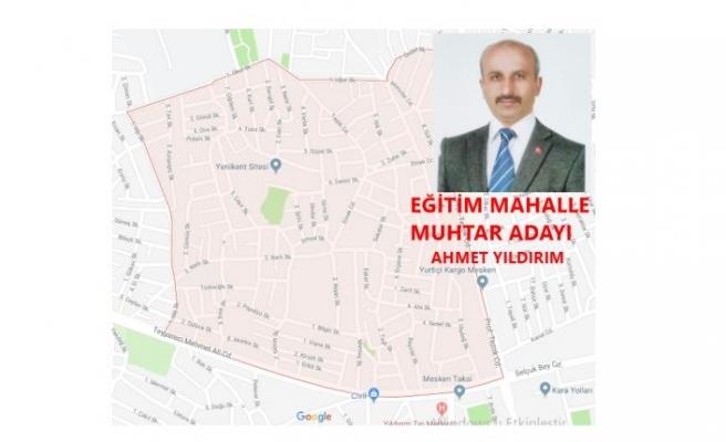 Muhtar Adayı Ahmet YILDIRIM Mahallemizde Ortak Yönetim olacak dedi.