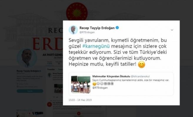 Cumhurbaşkanı Erdoğan çocukların karne sevincine ortak oldu