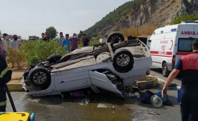 Devrilen otomobilin sürücüsü başka bir araçta yakalandı