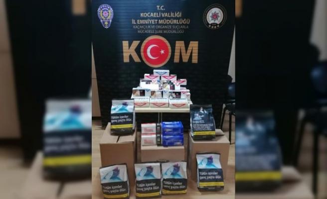 Kocaeli'de 540 kilogram kaçak tütün ile 11 bin 800 makaron ele geçirildi
