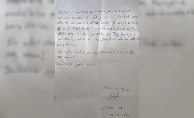 Kırklareli'nde karantinası sona eren askerin yurt görevlilerine minnettarlığı mektubundaki satırlara yansıdı
