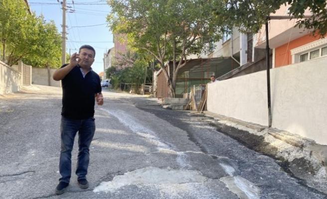 Tekirdağ Çorlu'da yollardaki çukurları vatandaş doldurmaya başladı
