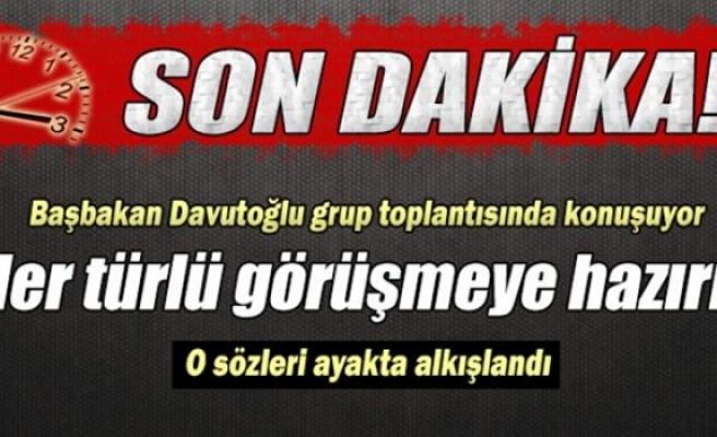 Başbakan Davutoğlu, grup toplantısında konuşuyor