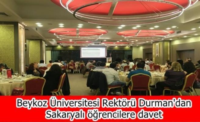 Beykoz Üniversitesi Rektörü Durman'dan Sakaryalı öğrencilere davet