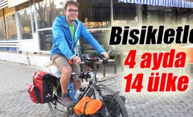 Bisikletiyle dört ayda 14 ülke dolaştı