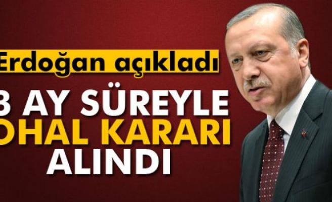 Cumhurbaşkanı Erdoğan: '3 ay süreyle OHAL kararı alındı'