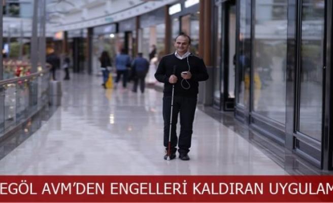 Görme engelliler için İnegöl AVM'yi gezmek kolaylaştı