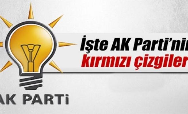 İşte AK Parti'nin kırmızı çizgileri