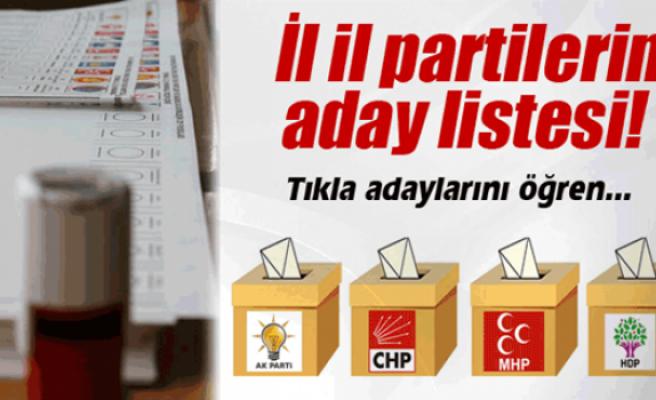 İşte partilerin il il milletvekili aday listesi