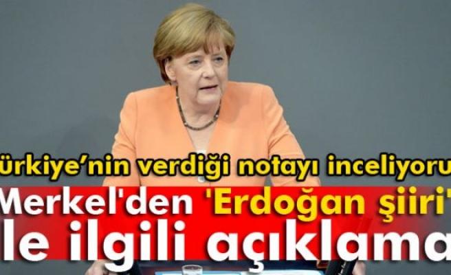 Merkel'den 'Erdoğan şiiri' ile ilgili açıklama