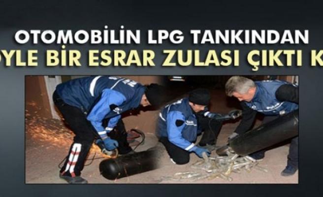 Otomobilin LPG tankından öyle bir esrar zulası çıktı ki!