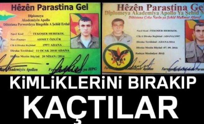 TERÖRİSTLER KİMLİKLERİNİ BIRAKIP KAÇTI!