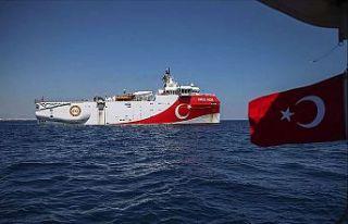 Oruç Reis'in Doğu Akdeniz'deki çalışma...