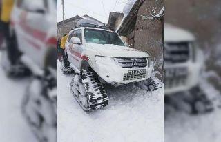 Bilecik'te kardan ulaşılamayan köydeki hasta...