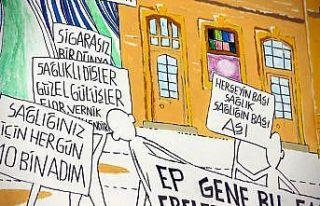 Kırklareli'nde vatandaşlar Kovid-19'a karşı Karagöz...