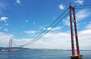 1915 Çanakkale Köprüsü inşaatında askı halatlarının...