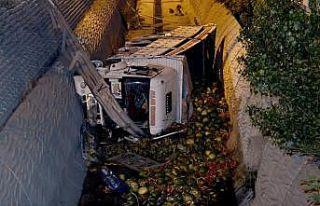 Esenyurt'ta karpuz yüklü kamyon dereye devrildi:...