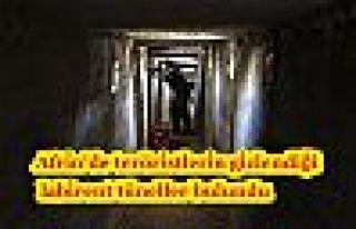 Afrin'de teröristlerin gizlendiği labirent tüneller...