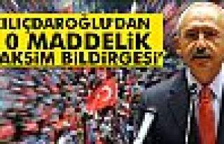 Kılıçdaroğlu'dan 10 maddelik 'Taksim Bildirgesi'