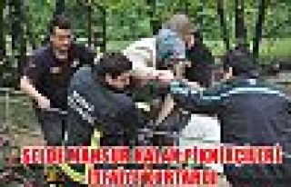 Selde mahsur kalan piknikçileri itfaiye kurtardı