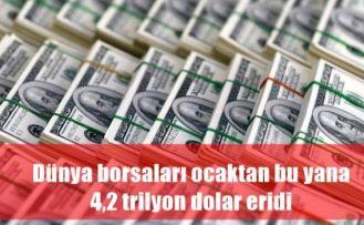 Dünya borsaları ocaktan bu yana 4,2 trilyon dolar eridi