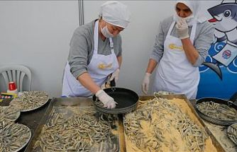 İzmir'deki şenlikte 10 ton hamsi dağıtıldı