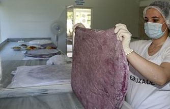 """KOSGEB desteğiyle kurduğu imalathanesinde """"mor yufka"""" üretmeye başladı"""